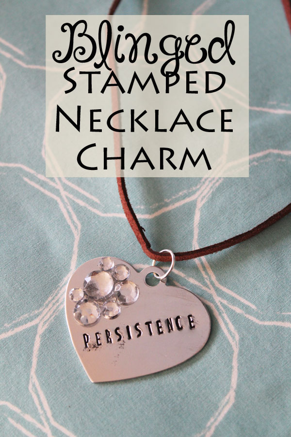 blinged stamped necklace charm