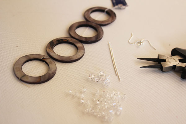 supplies for circle and sparkle earrings