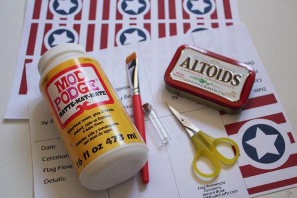 supplies for flag retirement kit