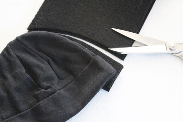 cut along curve of hat