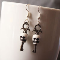 finished skeleton key earrings