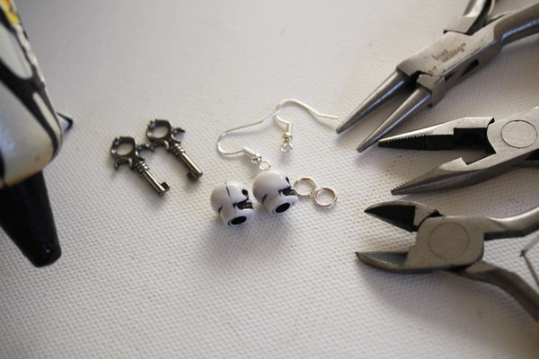 supplies for skeleton key earrings