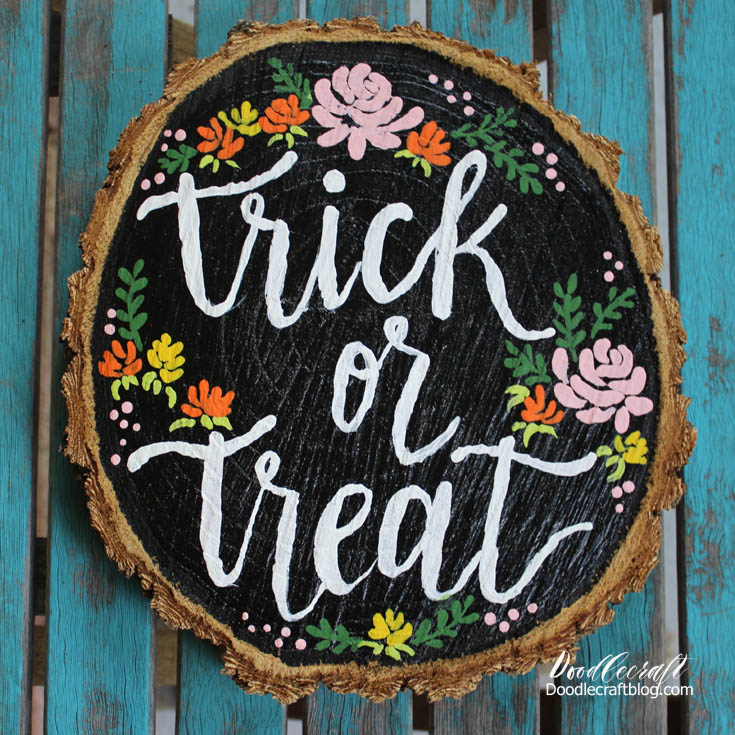 trick or treat wood slice diy sign calligraphy brush lettering (2)