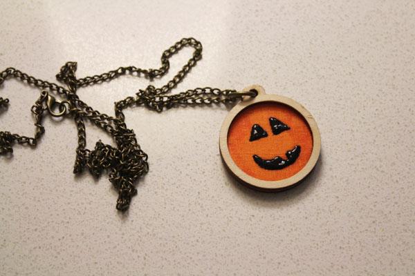 finished halloween jack o lantern necklace