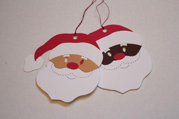 finished santa gift tags