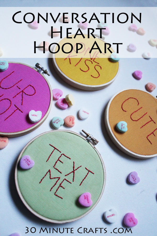 Conversation Heart Hoop Art