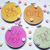 Make your own Conversation Heart Hoop Art