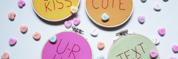Make your own Conversation Heart Hoop Art