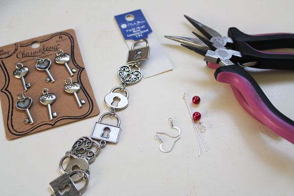 supplies for lock and key earrings