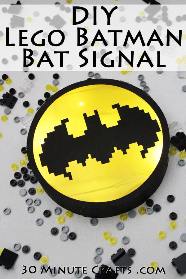 DIY Lego Batman Bat Signal - Make this Lego Batman Bat Signal yourself for a Lego Batman Party or for your favorite Lego Batman Movie fan!