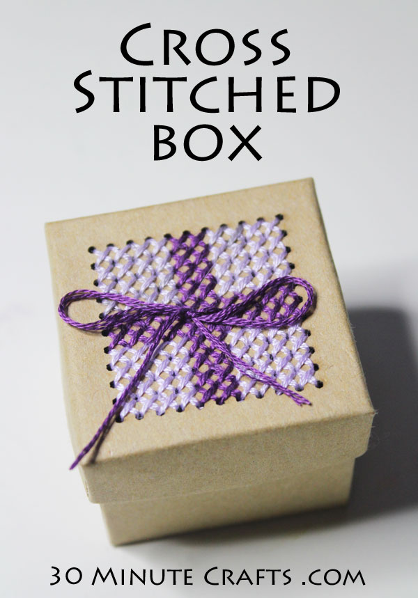 Make a Cross Stitched box with a few simple supplies
