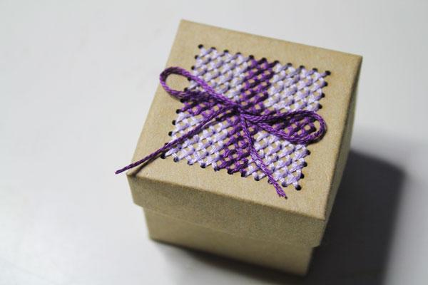 finished cross stitched box