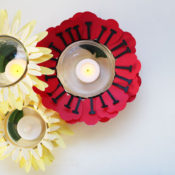 finished flower jar tea lights