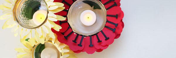 finished flower jar tea lights