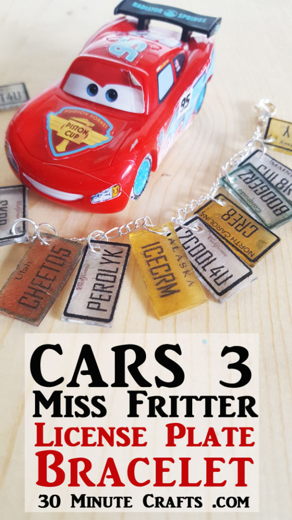 Cars 3 Craft - Miss Fritter inspired License Plate bracelet
