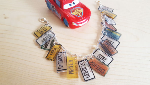 Cars 3 license plate bracelet inspired by Miss Fritter