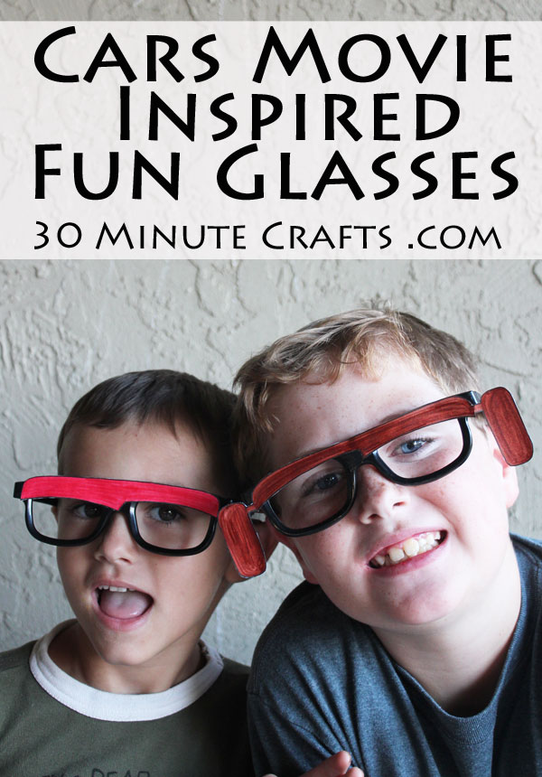 Cars Movie Inspired Fun Glasses - Made with frames from 3D glasses and a FREE PRINTABLE!