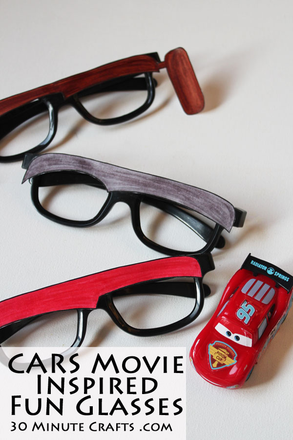 make your own Cars Movie inspired Fun Glasses