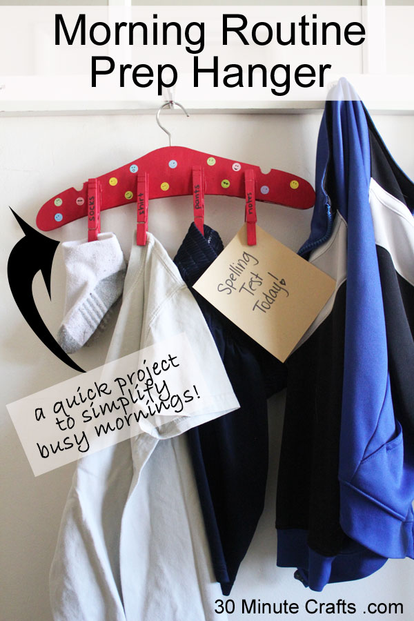 Start mornings out right with this morning routine prep hanger - have clothes and reminders ready to go each morning!