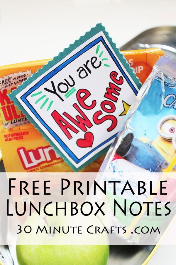 Free Printable Lunchbox notes - make back to school special by slipping these notes into your kiddo's lunchbox!