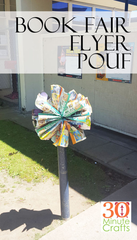 Such a simple way to decorate for the Book Fair! Use old Book Fair flyers to create large poufs. Decorate the school's entrance or walkway with the poufs to remind students and parents that the Book Fair is here!