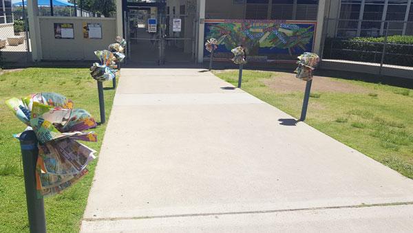 poufs in front of school