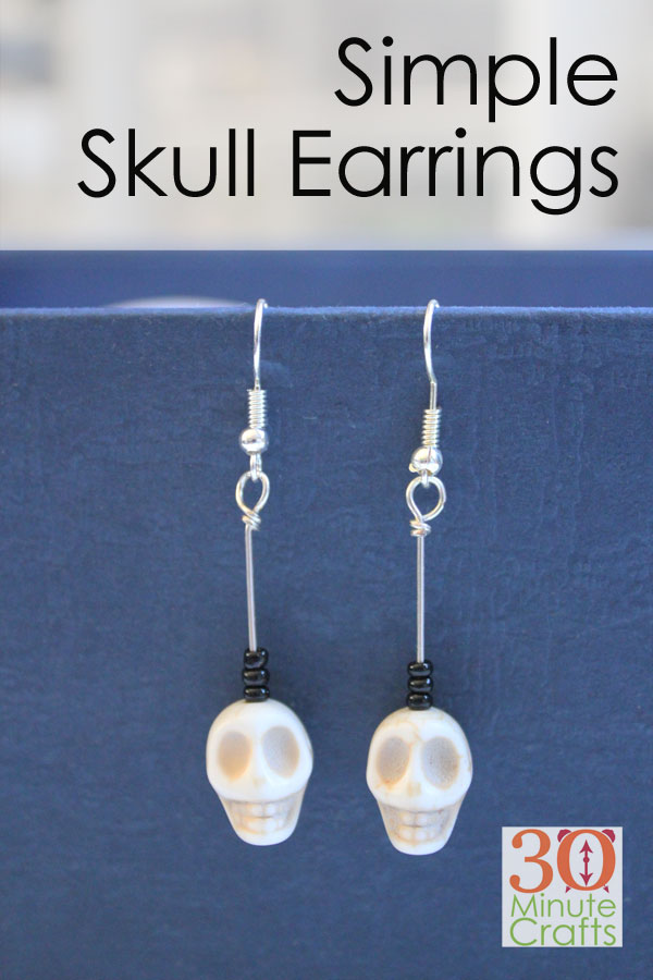 These simple skull earrings are easy to make yourself, and so fun to wear on Halloween!