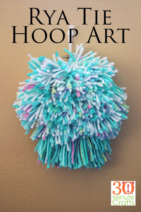 Rya Tie Hoop Art - Easy to make Rya Tie project, created in a hoop!