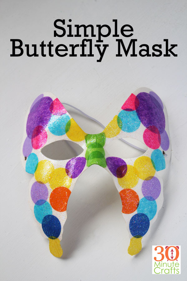 Using Mod Podge and tissue paper, make this beautiful butterfly mask.