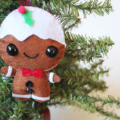 Hang up your adorable felt gingerbread man ornament