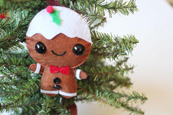 Hang up your adorable felt gingerbread man ornament