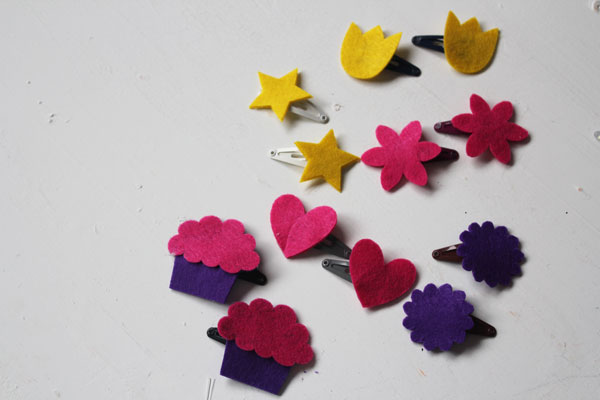 make your own felt hairclips