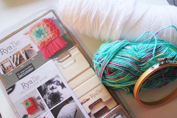supplies for rya tie hoop art