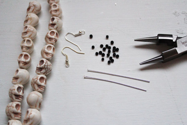 supplies for simple skull earrings