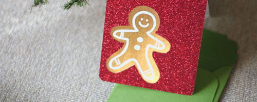 Gingerbread Man Christmas Card designed and cut with the Cricut