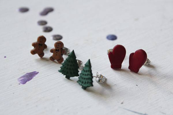 finished Holiday Earring Craft