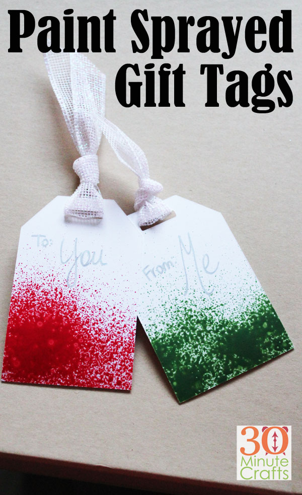 Paint Sprayed Gift Tags - these DIY Gift Tags are simple to make, and add some great color to a simply wrapped gift!