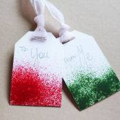 finished DIY Gift Tags - Paint Sprayed Gift Tags