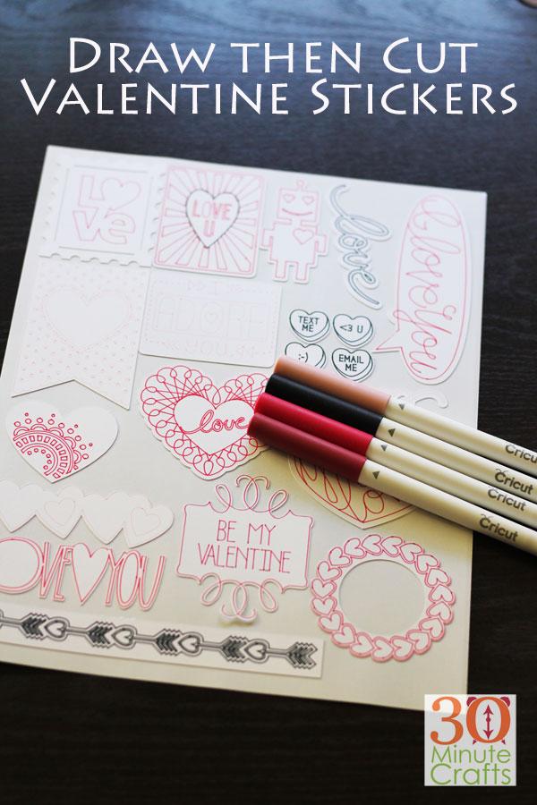Draw then Cut Valentine's Stickers on the Cricut Machine - 30 Minute Crafts .com