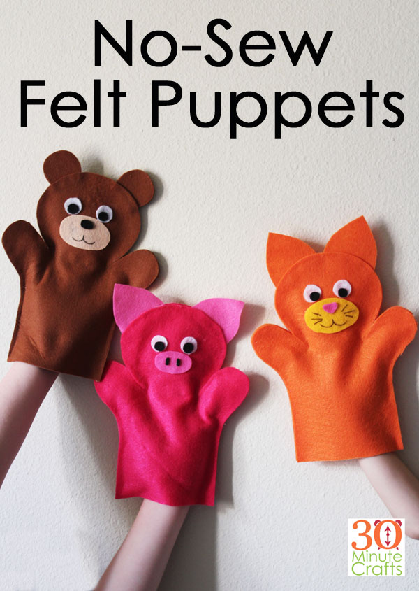 No Sew Felt Puppets - Make these fun felt animal puppets in less than 15 minutes each with no sewing!