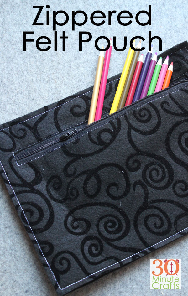 Make this simple felt zippered pouch in minutes using these instructions! Sew up a simple felt pouch!