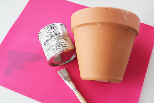 supplies for glittered clay pot