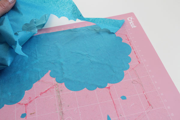 peel back tissue cut with the Cricut Maker