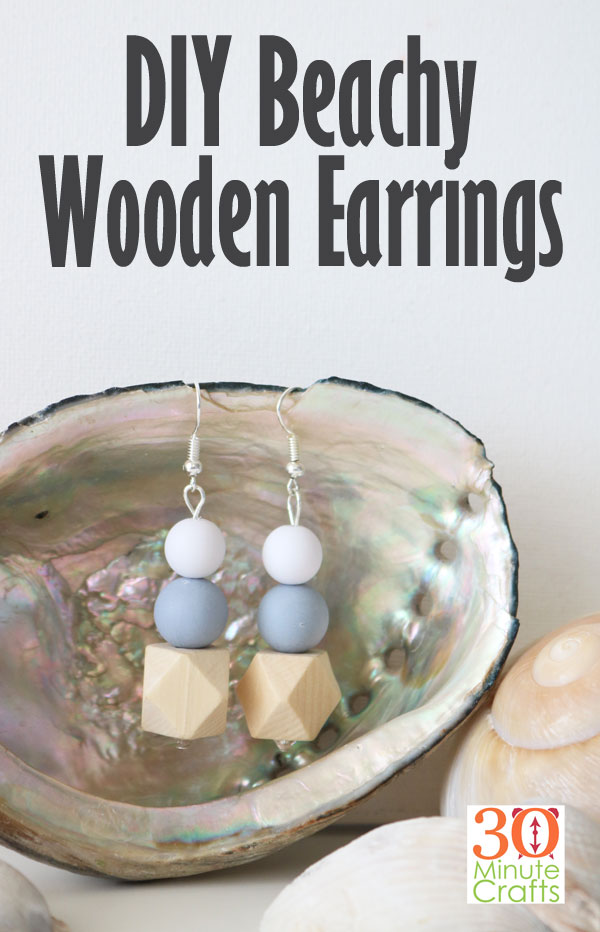 DIY Beachy Wooden Earrings - make your own wood bead earrings! These fun wood bead earrings have a great beach vibe - perfect for summer!
