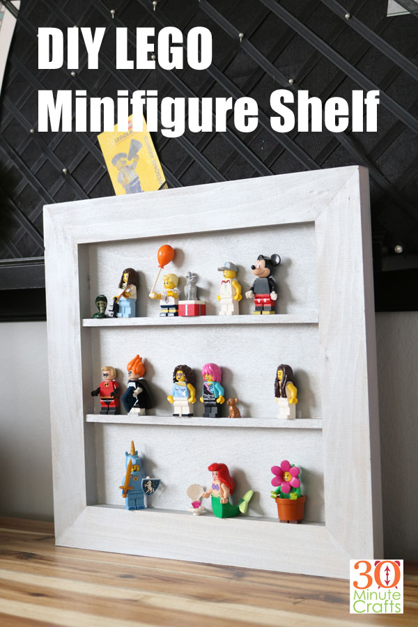DIY Lego Minifigure Shelf - make a simple shelf to display your Lego Minifigures! No need for fancy tools - no nails or screws required to make this quick 15 minute display shelf.