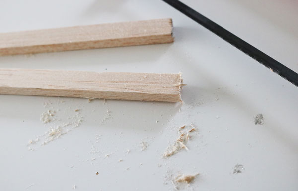 cut two lengths of the dowel