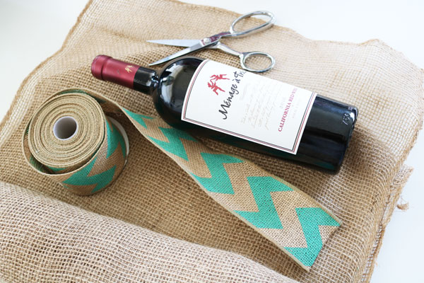 supplies for burlap wine bag