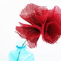 finished burlap flower