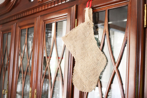 finished burlap stocking