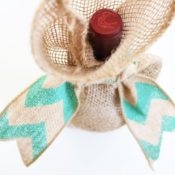 finished burlap wine bag